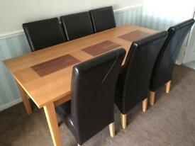 Matching Beech extendable dining set