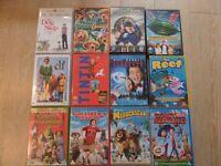 12 KIDS DVDS, REEF,MADAGASCAR,CLOUDY MEATBALLS,GULLIVER,ELF,SCROOGE,THUNDERBIRDS,SUPERMAN,TINTIN