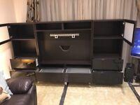 Ikea Black TV storage unit and 2 Media Units with display shelves