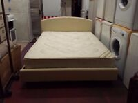 cream leather double bed frame with 8 inch thick orthopaedic mattress