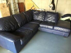 Navy Leather Corner Suite