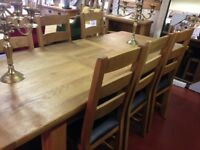 New Salisbury Erne Oak Large Extending 6-8 seat dining table & 6 oak chairs £995 IN STOCK NOW