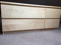 Oak 4 drawer set 2 small two large