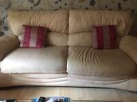 3 & 2 cream leather sofas