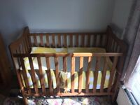 Babies R Us wooden cot w/ Thermorest spring mattress