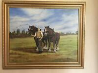 Painting Horse feature Oil Canvas Framed