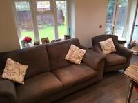 Brown three seater sofa and chair