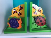 Wooden kids bookends