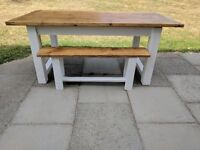 Rustic farmhouse chunky family dining/kitchen table & 1 bench. Large shabby chic. Local Delivery