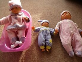 Baby dolls, clothes and accessories