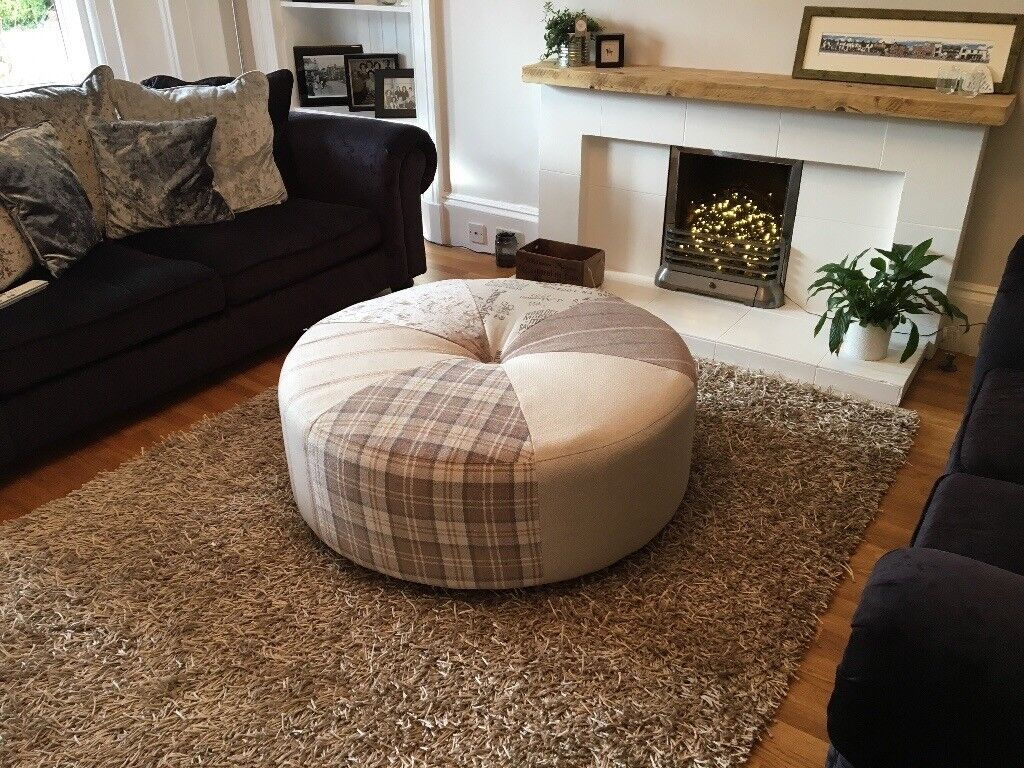 Very Large Round Beautiful Foot Stool Pouffe