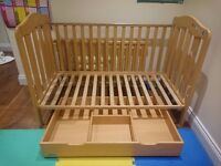 Mamas & Papas Cot/Toddler Bed for sale - converts from crib to 5+ year old bed, with truckle drawer