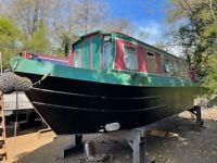 30 ft cruiser stern narrowboat- semi project boat