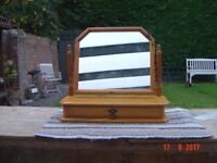 Pine Varnished Tilting Dressing Table Mirror with a Drawer in the Base. Can Deliver.