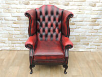 Chesterfield Wing Leather Ox Blood chair (Delivery)