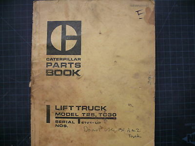 Caterpillar T25 T30 Forklift Parts Manual Book List Cat Spare Catalog Towmotor