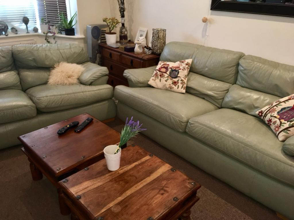 3 Light Green Leather Sofas In Bournemouth Dorset Gumtree