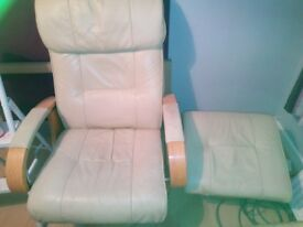 Leather reclining chair + foot stool
