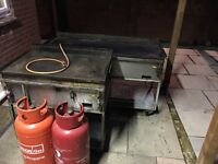 2 Restaurant/ Catering Portable Flat Top Grills/Griddles (One full, one double) Plus 2 Gas Bottles