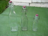 Three Glass Kilner Square Clip Top Bottles - All Three for £5.00