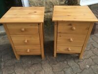 2x Pine Bedside Tables