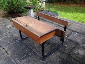 Vintage Double school desk with folding seat by Kingfisher
