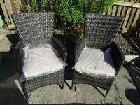 Pair of Rattan Armchairs or Dining Chairs Dark Brown