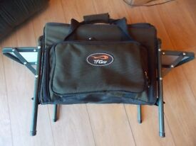TF GEAR tackle box on legs with side tables in very good condition new cost £70