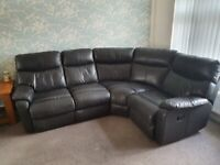 Leather reclining corner sofa and armchair