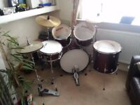5 piece Pro Kussion drum kit complete with all stands,symbols and additional symbols.