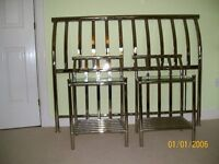 Double bed frame and 2 bedside tables
