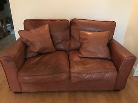 Two contemporary, soft brown leather sofas for sale