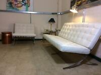 Barcelona two piece suite sofa and armchair in real white leather RRP £2000