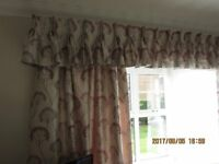 2 x sets fully lined curtains with pinch pleat pelmets