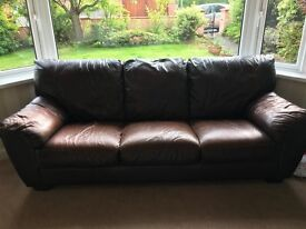 Large Brown Leather Sofa From Furniture Village, very good condition, cost £3500, accept £100