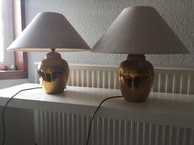 2 brass side lamps