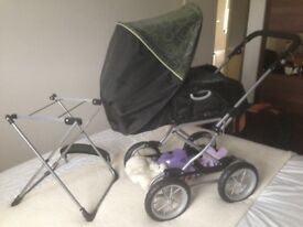 Silver Cross Dolls Pram in Grey/black with carry cot and extras