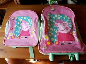 Peppa pig backpack and suitcase on wheels