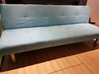 Blue Suede Futon/Sofa turns into a single bed