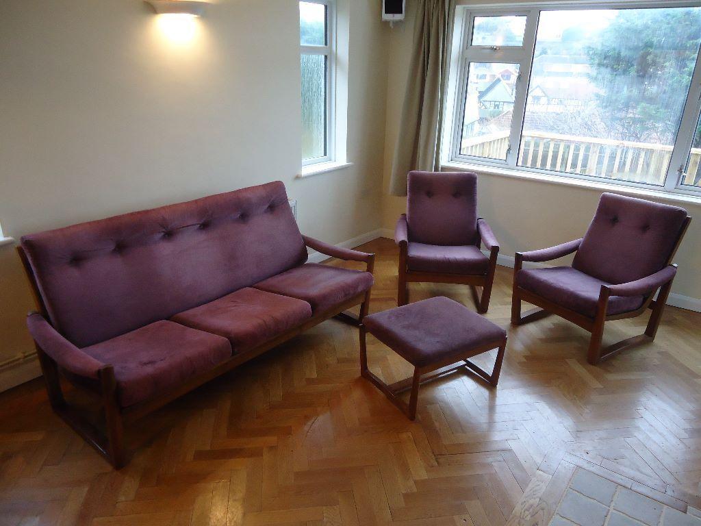 Teak Living Room Furniture 1960s Scandinavian Teak Living Room Suite 3 Seater Sofa 2