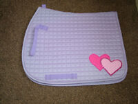 Saddle Cloth - Purple with Pink Hearts