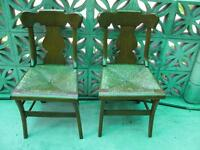 Pair of Antique Upper Canada walnut chairs, early 1800s