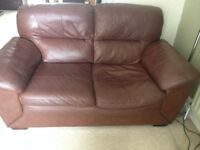 Leather sofa chocolate brown two seater