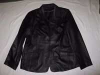 Ladies smart Dress style Genuine soft Leather Black Jacket, with Black Lining, Size 18