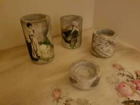 Vintage set of 4 tea light holders and a pot pourri bowl