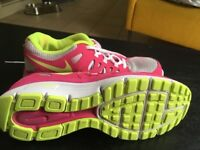 Nike trainers pink lemon and white. Size 5.5