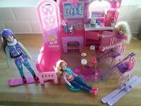 Barbie Ski Chalet set with skis, snowboard, ice skates and 3 dolls
