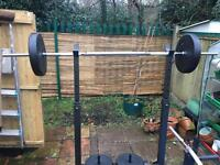 Weight bench, squat rack,barbells and 110 kg of weights