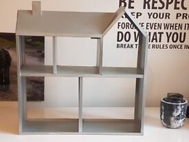 Metal silver house shaped storage shelf *wall mountable*