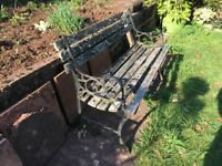 Old garden bench, wood is rotten so bit of a project, iron work sides